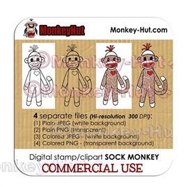 Sock Monkey Clip Art Digital Stamp CUTE - LIMITED COMMERCIAL USE | Other Files | Clip Art