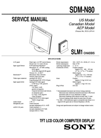 Service Manual - Sony TFT Monitor SDM-N80 - Chassis SLM1 | eBooks | Technical