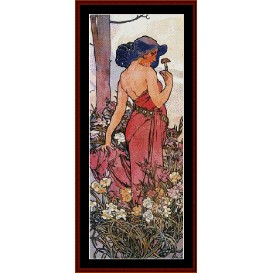Carnations - Mucha cross stitch pattern by Cross Stitch Collectibles | Crafting | Cross-Stitch | Wall Hangings