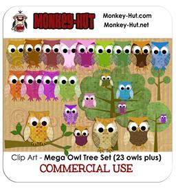 Owl Clip Art Set - Mega set - clipart trees branch COMMERCIAL USE   Other Files   Clip Art