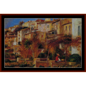 Terrace at Cagnes 1905 - Renoir cross stitch pattern by Cross Stitch Collectibles | Crafting | Cross-Stitch | Wall Hangings