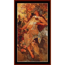 Autumn - Mucha cross stitch pattern by Cross Stitch Collectibles | Crafting | Cross-Stitch | Other