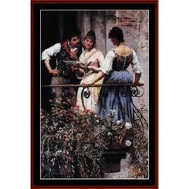 on the balcony - de blass cross stitch pattern by cross stitch collectibles