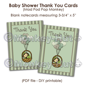 Monkey Baby Shower Thank You card cards PDF printable DI | Other Files | Patterns and Templates