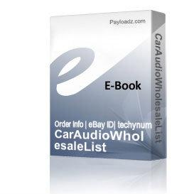 Car Audio In Dash Dvd Player Wholesale List | eBooks | Other