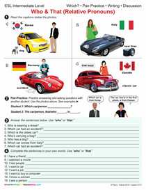 Esl / Who & That, Relative Pronouns   Other Files   Documents and Forms