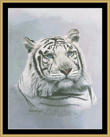 White Tiger - Blue Sapphire Cross Stitch Download | Crafting | Cross-Stitch | Other