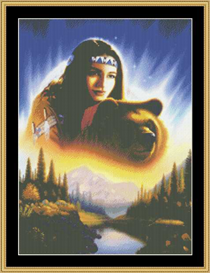 Indian Girl With Bear - Cross Stitch Download | Crafting | Cross-Stitch | Other