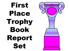 1st place trophy book report (favorite book i read this year)