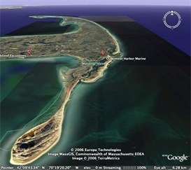 monomoy island, cape cod kayaking: transit routes, put-ins, portages and caution areas.