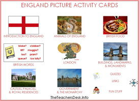 England Picture Activity Cards | eBooks | Education