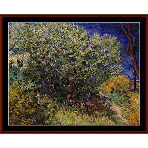 lilac bushes - van gogh cross stitch pattern by cross stitch collectibles