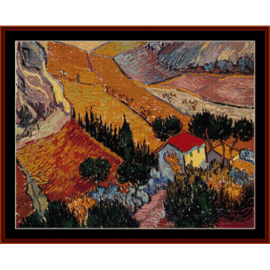 landscape with house and ploughman - van gogh cross stitch pattern by cross stitch collectibles