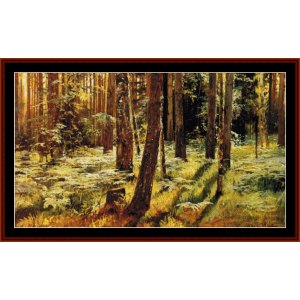 ferns in a forest - shishkin cross stitch pattern by cross stitch collectibles