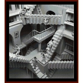 escher-like stairs - fractal cross stitch pattern by cross stitch collectibles