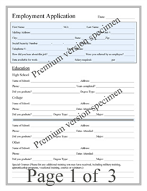 Premium Employment Application | Other Files | Documents and Forms