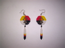 Brick Stitch Wolf Paw Shield Delica Seed Bead Earring Pattern | Other Files | Arts and Crafts