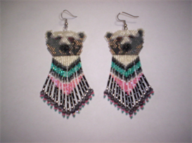Brick Stitch Polar Bear Delica Seed Beading Dangle Earring Pattern | Other Files | Arts and Crafts