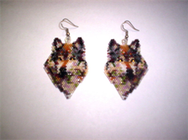 Brick Stitch Wolf Of Many Colors Delica Seed Beading Dangle Earring Pattern | Other Files | Arts and Crafts