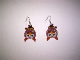 Brick Stitch Owl Delica Seed Bead Dangle Earring Pattern | Other Files | Arts and Crafts