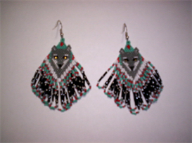 Brick Stitch Wolf/Diamond  Delica Seed Bead Earring Pattern | Other Files | Arts and Crafts
