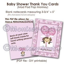 (Cocalo Jacana) Monkey Baby Shower Thank You card cards PDF printable DIY | Other Files | Graphics