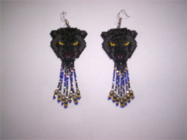 Brick Stitch Black Panther Delica Seed Bead Dangle Earring Pattern | Other Files | Arts and Crafts