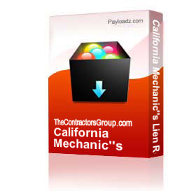 California Mechanic's Lien Release Form (win-pdf) | Other Files | Documents and Forms