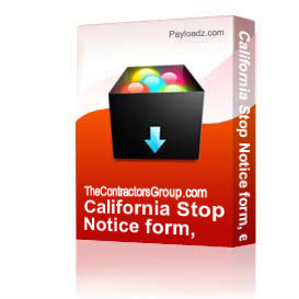 California Stop Payment Notice form, editable | Documents and Forms | Building and Construction