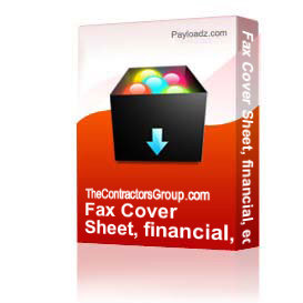 Fax Cover Sheet, financial, editable | Other Files | Documents and Forms