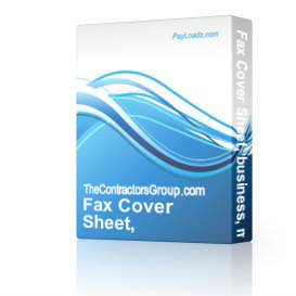 Fax Cover Sheet, business, memo, editable | Software | Business | Other