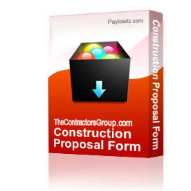 Construction Proposal Form - Bid Form - Estimate Form Style #6 | Documents and Forms | Building and Construction