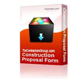 construction proposal form - bid form - estimate form style #6