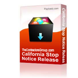 California Stop Notice Release | Other Files | Documents and Forms
