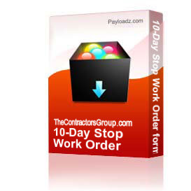 10-Day Stop Work Order form | Other Files | Documents and Forms