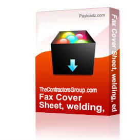 Fax Cover Sheet, welding, editable | Other Files | Documents and Forms
