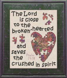 Brokenhearted  - Psalm 34:18 - Chart | Crafting | Cross-Stitch | Religious