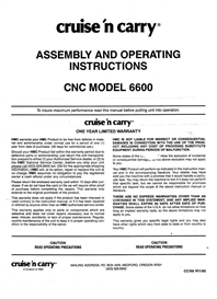 Cruse-N-Carry CN 6600 owners manual | eBooks | Technical