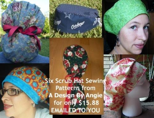 First Additional product image for - 6 Scrub Hat Sewing Instructions Patterns Download