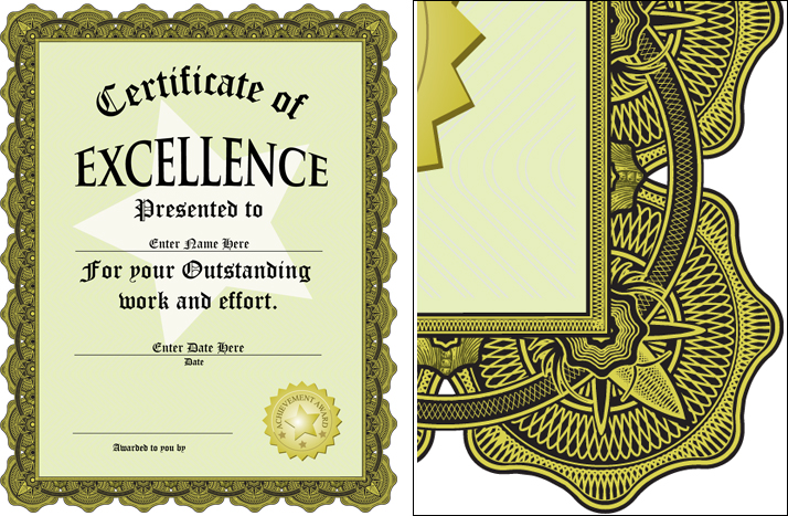 Award of excellence certificate software design templates for Certificate of excellence template