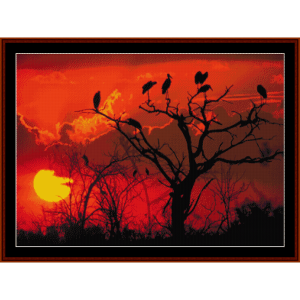 Botswana Sunset, Africa - Nature cross stitch pattern by Cross Stitch Collectibles | Crafting | Cross-Stitch | Wall Hangings