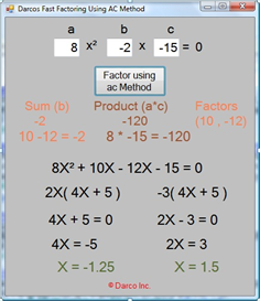 Fast-Factoring Using AC Method