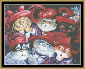 Red Hat Cats - Cross Stitch Download | Crafting | Cross-Stitch | Wall Hangings