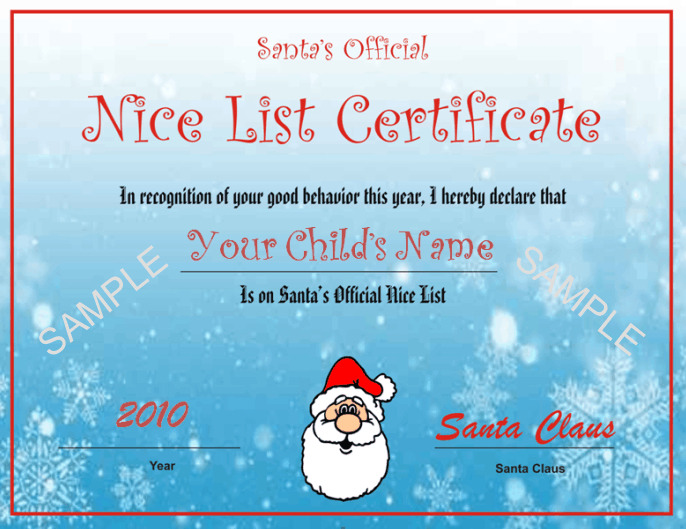 Santas nice list certificate blue snowflake design other santas nice list certificate blue snowflake design other files patterns and templates yelopaper Images