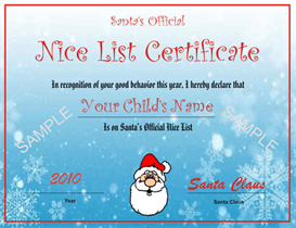 Santa's Nice List Certificate - Blue Snowflake Design | Other Files | Patterns and Templates