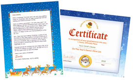 Santa Letter Combo - Sleigh Design with Santa Seal Nice  List Certificate | Other Files | Patterns and Templates