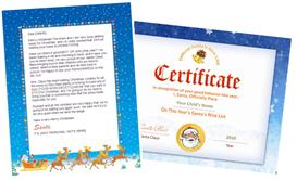 santa letter combo - sleigh design with santa seal nice  list certificate