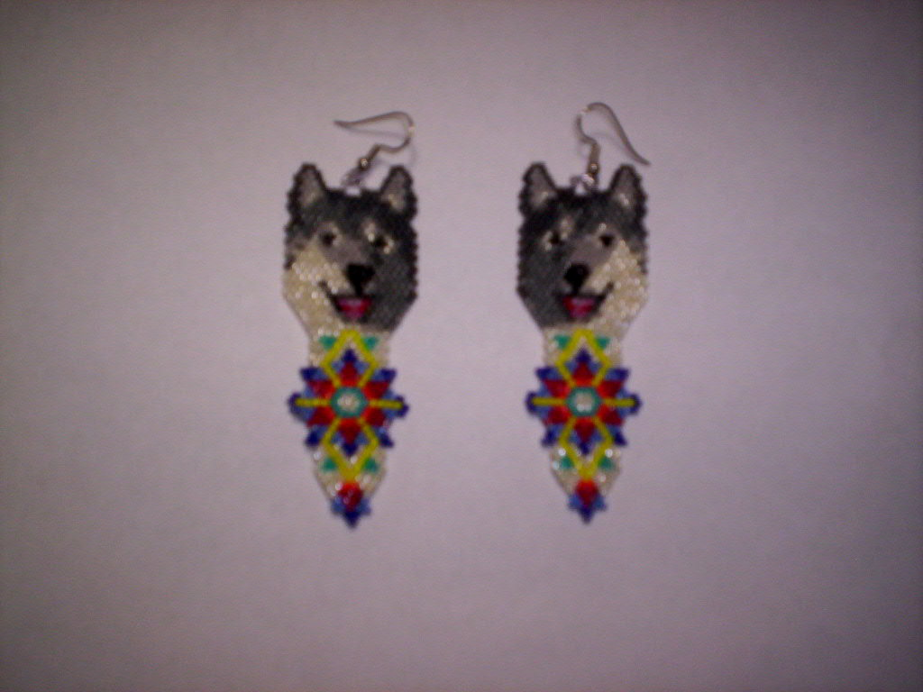 First Additional product image for - Brick Stitch Wolf Delica Seed Bead Dangle Earring Pattern