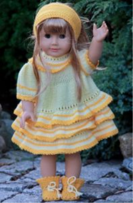 First Additional product image for - DollKnittingPattern - 0048D GULLTOPP (Gold Top) -Dress,Trousers, Socks and Hair Band