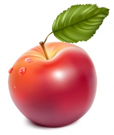 Vectorlib RF (Standard License): Vector. Ripe red apple with water drops.